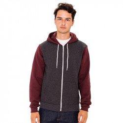 F4972W - Sweat-shirt à capuche zippé bicolore
