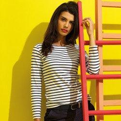 AQ071 - T-shirt marinière «coastal» femme à manches longues