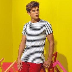 AQ072 - T-shirt marinière «coastal» homme à manches courtes