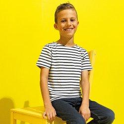 AQ075 - T-shirt marinière «coastal» enfant à manches courtes