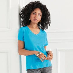 392 - T-shirt col V Femme Anvil