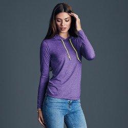 887L - T-shirt léger à capuche à manches longues Femme Anvil