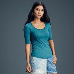 6756L - T-shirt Femme triple mélange à manches mi-longues et décolleté profond Anvil