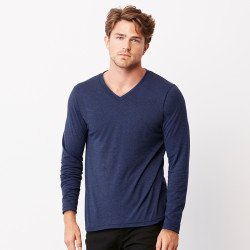3425 - T-shirt col V à manches longues en triple mélange unisexe