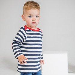 BZ38 - T-shirt rayé manches longues à coudières bébé