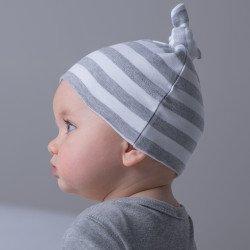 BZ15S - Bonnet de bébé rayé à nœud