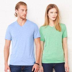 3415 - T-shirt col V unisexe en triple mélange