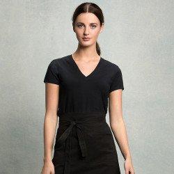 KK512 - T-shirt café-bar col V manches courtes Femme