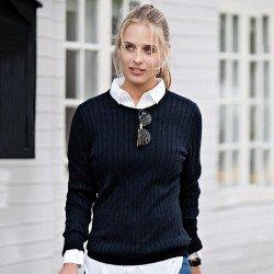 NB68F - Pull en tricot torsadé Winstonpour femme