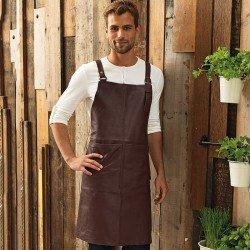 PR140 - Tablier bavette en cuir véritable avec bretelles croisées dans le dos