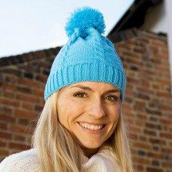 R149X - Bonnet à pompon en tricot torsadé