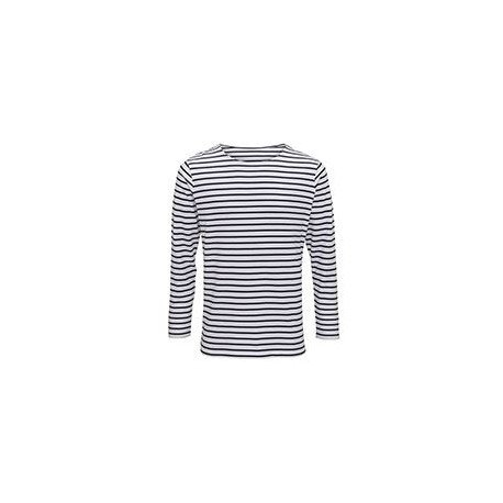 AQ070 - T-shirt marinière «coastal» homme à manches longues
