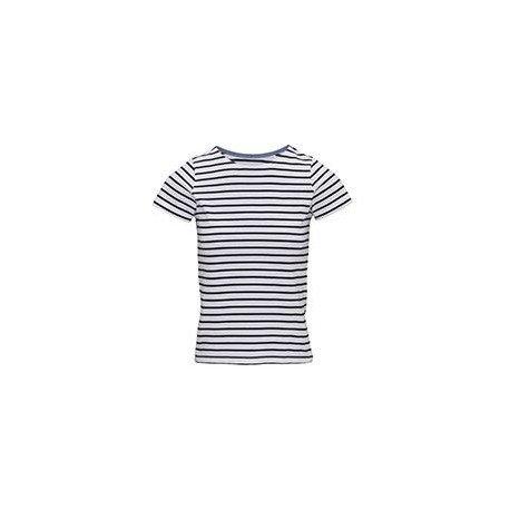AQ073 - T-shirt marinière «coastal» femme à manches courtes