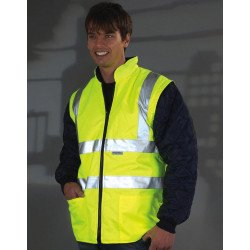 HV008SL - Fluo Quilted Jacket with Zip-Off Sleeves