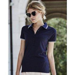 1408 - Ladies Luxury Stripe Stretch Polo