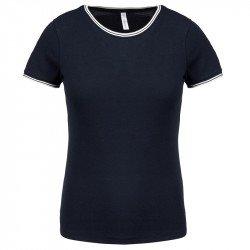 K393 - T-shirt maille piquée col rond femme