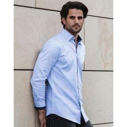 R-964M-0 - Men`s LS Tailored Contrast Herringbone Shirt