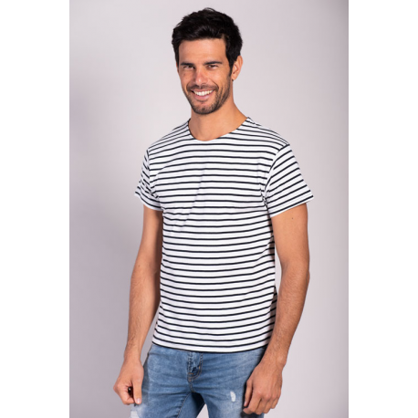 MO225 - T-shirt Marinière Rayures Fines Manches Courtes-MORE